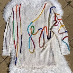 Vintage French Rags Retro V Neck White Sweater